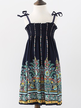 Ethnic Embroidery Sleeveless Girls' Dresses