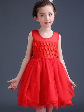 Stylish Pleated Sleeveless Girls' Dresses
