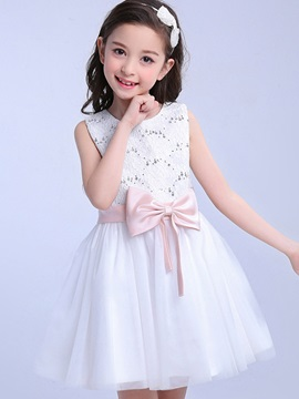 Ladylike Hollow Bowknot Girls' Dresses