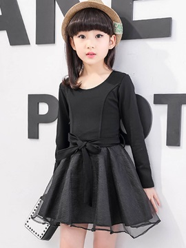 Fashion Bowknot Long Sleeves Girls' Dresses