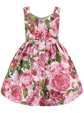 Pastoral Printed Sleeveless Button Girl's Dress