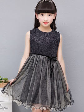 Sweet Lace Mesh Patchwork Sleeveless Bowknot Girl's Dress