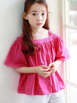 Sweet Solid Color Pleated Off Shoulder Girl's T-Shirt