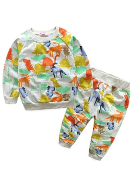 Cartoon Dinosaur Print Boy's 2-Piece Outfit