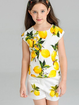 Lemon Pattern Girl's 2-Piece Outfit