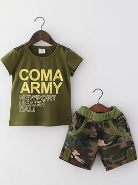 Stylish Letter Printed Top And Camouflage Shorts