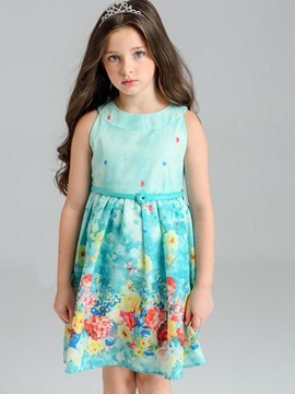 Pastoral Belt Princess Flower Printed Girl's Dress