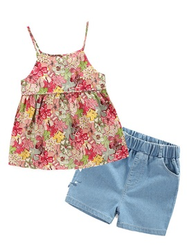 Simple Floral Sleeveless Girl's 2-Piece Outfit