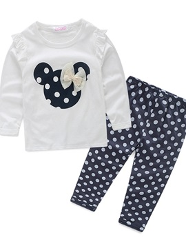Cartoon Dots Girl's 2-Piece Outfit