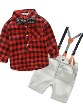 Plaid Shirt & Jeans Romper Shorts Baby's 2-Piece Outfit