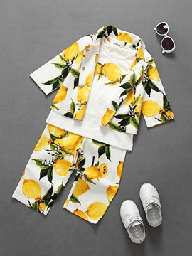 Lemon Prints Girl's 3-Piece Outfit