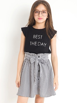 Fashion Solid Color T-Shirt And Stripe Botton Bowknot Skirt Girl's Outfit