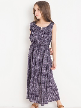 Bohemian Style Sleeveless Girl's Ankle-Length Dress