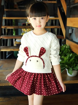 Simple Sweet Knitted Plaid Rabbit Girl's Long-Sleeve Dress
