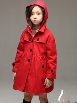Fashion Hooded Button Long Sleeves Girl's Coat