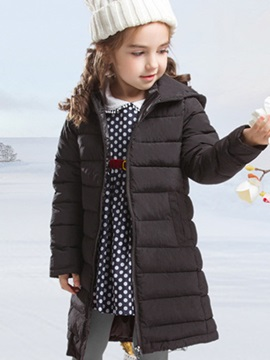 Stylish Solid Color Zipper Front Girl's Down Coat