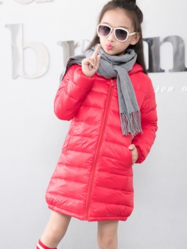 Simple Solid Color Duck's Down Girl's And Boy's Down Coat