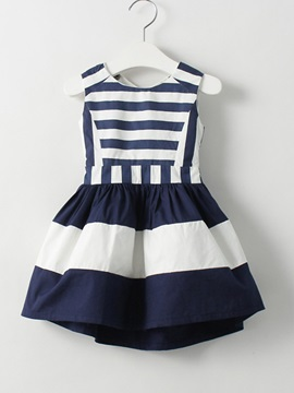 Striped Patchwork Sleeveless Pleated Girls Dress