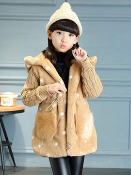 Smile Pattern Polka Dots Wool Patchwork Thicken Warm Hooded Girls Coat