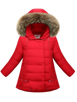 Faux Fur Hooded Slim Girl's Down Jacket