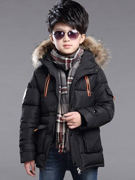 Fur Hooded Zipper Mid-Length Boy's Winter Down Jacket