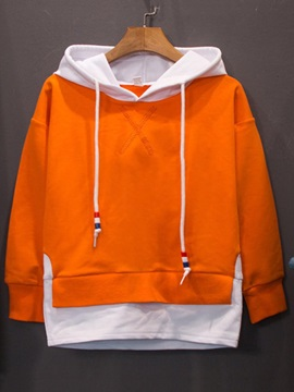 Letter Print Patchwork Hooded Pullover Boy's Sweater