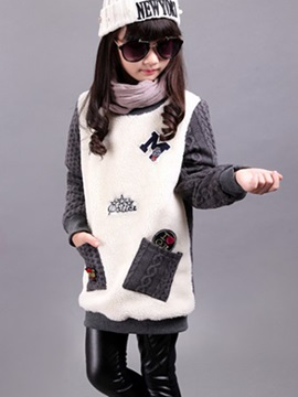 Color Block Letter Print Patchwork Girl's Sweater