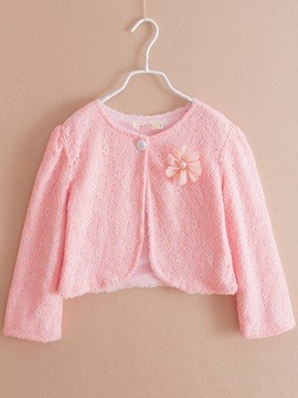 Plain Lace Thick Girl's Short Cardigan
