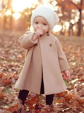 Round Neck Double-Breasted Baby Girl's Cape Woolen Coat