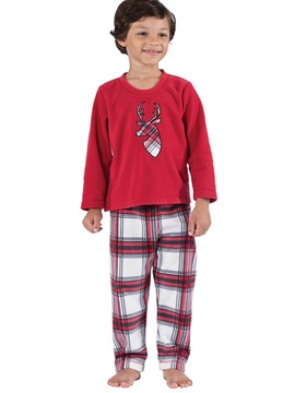 Christmas Deer Print Shirt & Plaid Trousers Unisex Outfit Pajamas