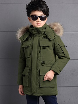 Faux Fur Hooded Zipper Boy's Down Jacket