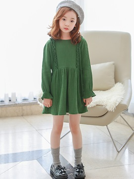 Plain Flare Sleeve Girl's Above Knee Dress