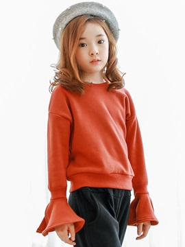 Plain Flare Sleeve Thicken Girls' T-Shirt