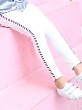 Stripe Mid-Waist Thin Girls' Leggings