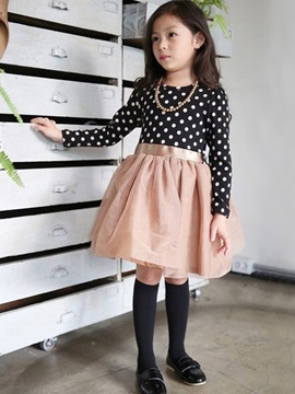 Polka Dots Mesh Patchwork Girl's Dress