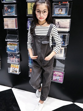 Full Length Denim Patchwork Girls' Jumpsuit