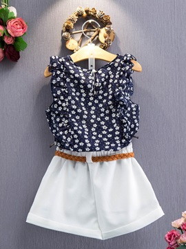 Floral Print Tank Top with Shorts Girls' Outfit