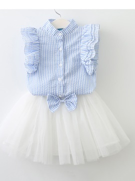 Stripe Sleeveless Shirt Bowknot Mesh Skirt Girls' Outfit