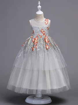 Sleeveless Mesh Embroidery Ball Gown Girls' Dress