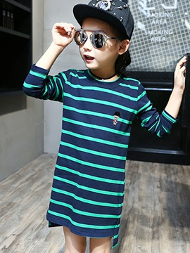 Mid-Length Stripe Asymmetric Girls' T-Shirt