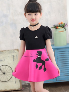 Above Knee Color Block Puff Sleeve Girl's Dress
