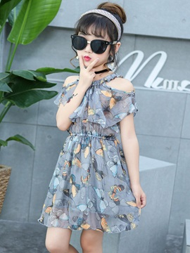 Print A-Line Round Neck Girl's Dress