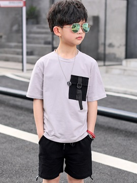 Color Block Patchwork Pocket Boy's Suit