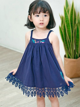 Sleeveless Embroidery Patchwork Girl's Dress
