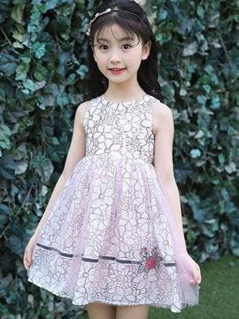 Elegant Flower Patchwork Girl's Dress