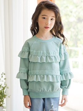 Round Collar Cotton Hollow Girl's Hoodie