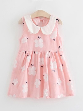 Peter Pan Collar Flower Printed Girl's Dress