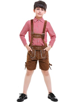 Plaid Shirt And Overall Costume Boys' Outfit