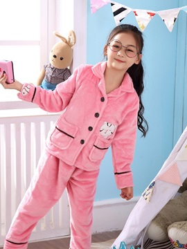 Flannel Cartoon Sleep Top And Pants Girls' Pajama Suit