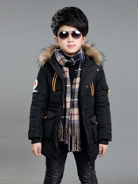 Faux Fur Hooded Linen Mid Length Boys' Cotton Coat